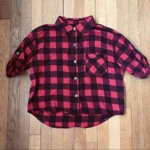 NWOT Cropped Lightweight Flannel Shirt